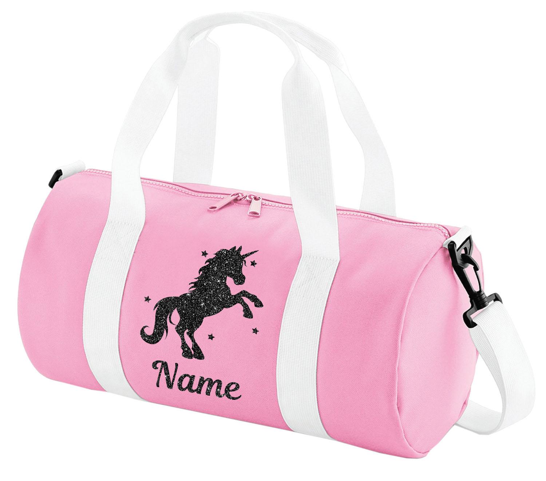Personalised Unicorn School Book Bag Girls Glitter Horse Riding PE Kit Gift