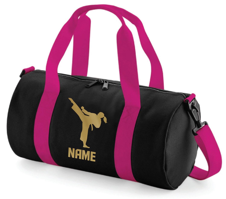 Personalised Karate Barrel Bag Girls Martial Arts Kick Boxing Sports Gym Gift