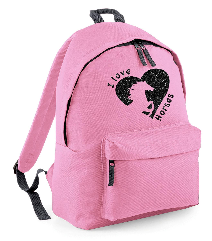 Personalised Girls Horse Glitter Backpack Kids Riding School Bag Rucksack