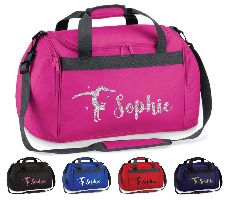 Personalised Name Gymnast Junior Kit Bag Gymnastic Gear Girls Glitter Pink Gold