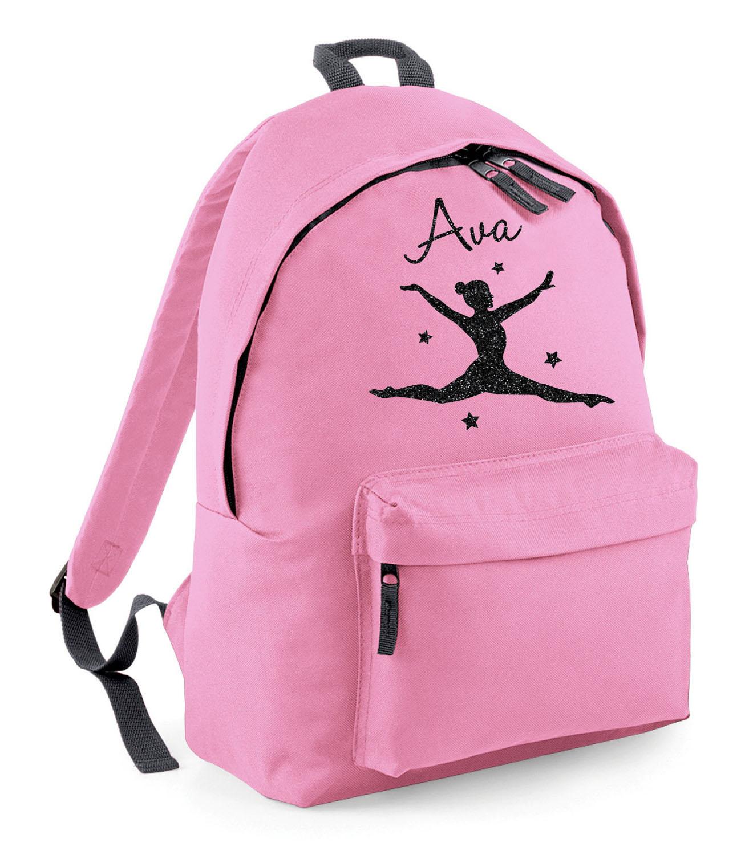 Childrens Personalised Glitter Gymnast School Book Bag Gymnastics Dance Dancer