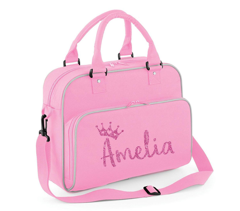 Personalised Girls Glitter Princess Crown Shoulder Bag Dance Kit School Pe Gift